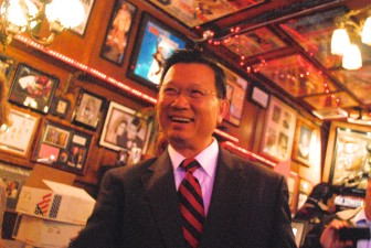 County supervisor candidate Andrew Do greets supporters on election night.