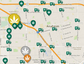 A map of marijuana dispensaries in Anaheim, according to Weedmaps.com, an online social network for legal marijuana.