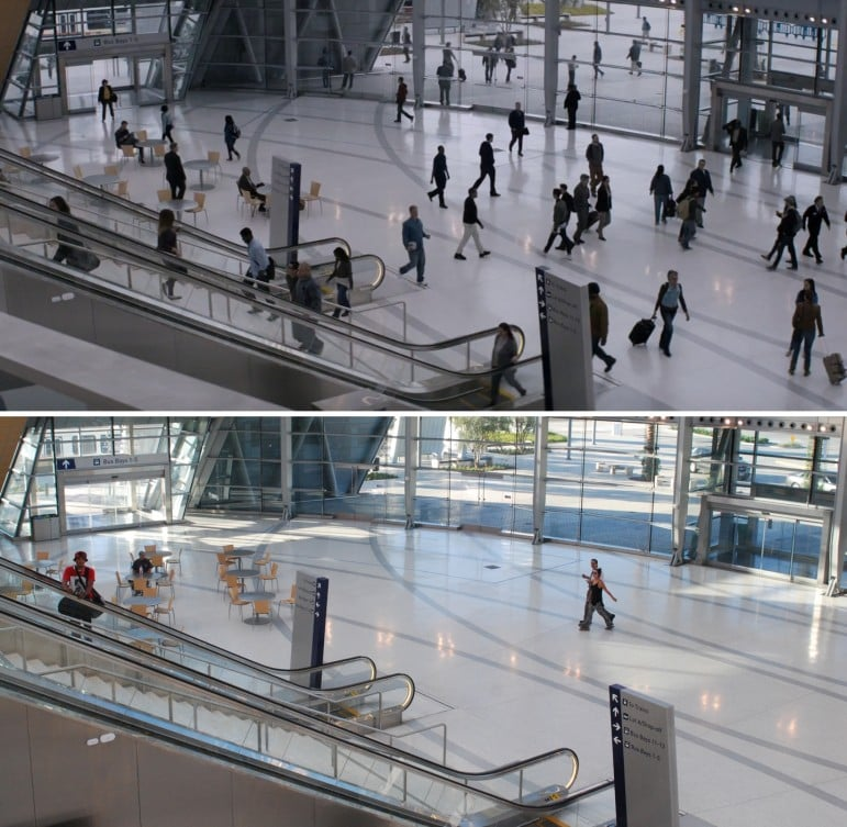 """Another comparison of the """"True Detective"""" scene and the afternoon rush hour last Wednesday. (Photos by: HBO and Nick Gerda/Voice of OC)"""