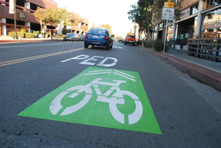 "A brand new green ""sharrow"" in downtown Santa Ana."