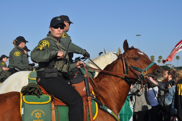 A mounted police officer monitors the crowd assembled at the Orange County Fairgrounds Thursday for the Donald Trump Rally.