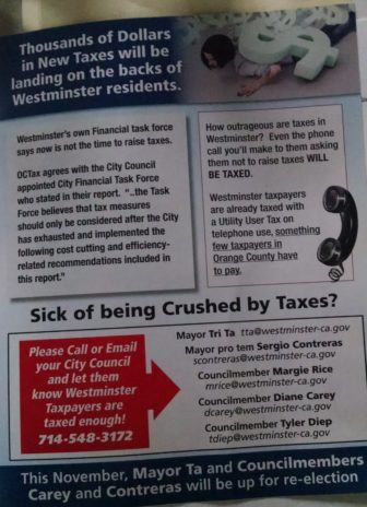 A mailer sent by the OC Taxpayers' Association to Westminster residents.