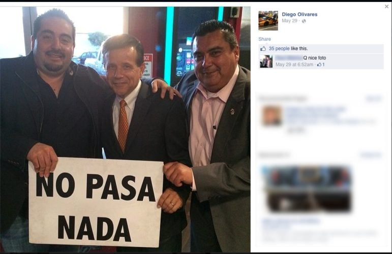"""Diego Olivares (left), Miguel Pulido (center) and former Santa Ana City Council candidate Miguel """"Mike"""" Gonzalez (right) in a picture posted on Olivares' Facebook page."""