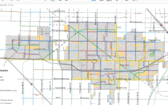 A map of proposed bike route changes. Click to view PDF.