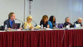 Coastal Commissioners (left to right) Steve Kinsey, Dayna Bochio, Wendy Mitchell, Effie Turnbull-Sanders, Martha McClure