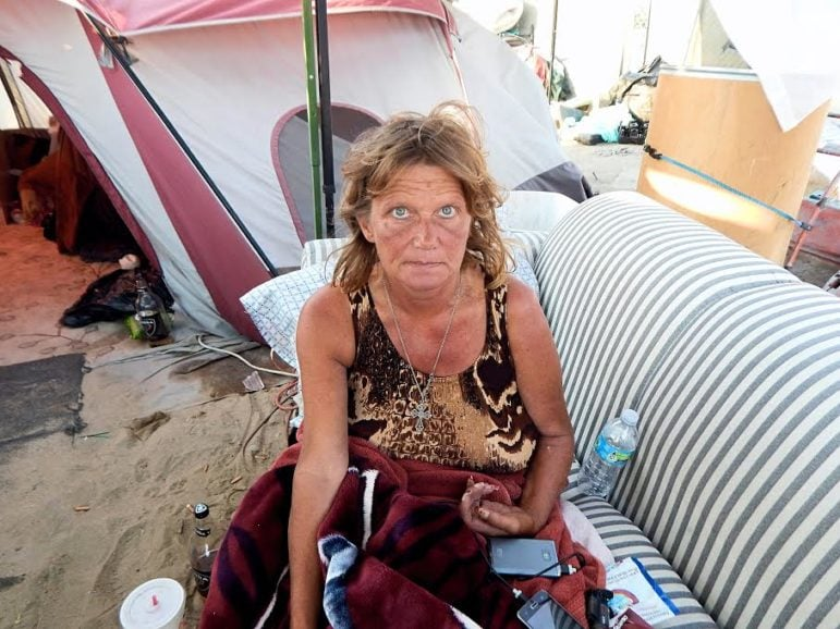 Denise Lindstrom Le Blanc, who has been homeless for two years, now calls the bed of the Santa Ana River home.
