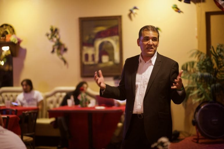 Jose F. Moreno (pictured at an election night party) came back to win over Jordan Brandman in a tight race for Anaheim City Council.