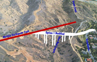 The Whittier-Elsinore Fault runs through the property and near the bridge abutments.
