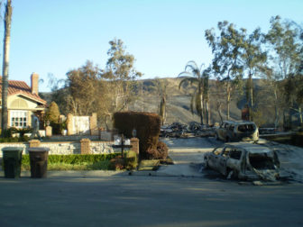 The 2008 Freeway Complex Fire damaged or destroyed nearly 300 homes in the area with streets gridlocked.