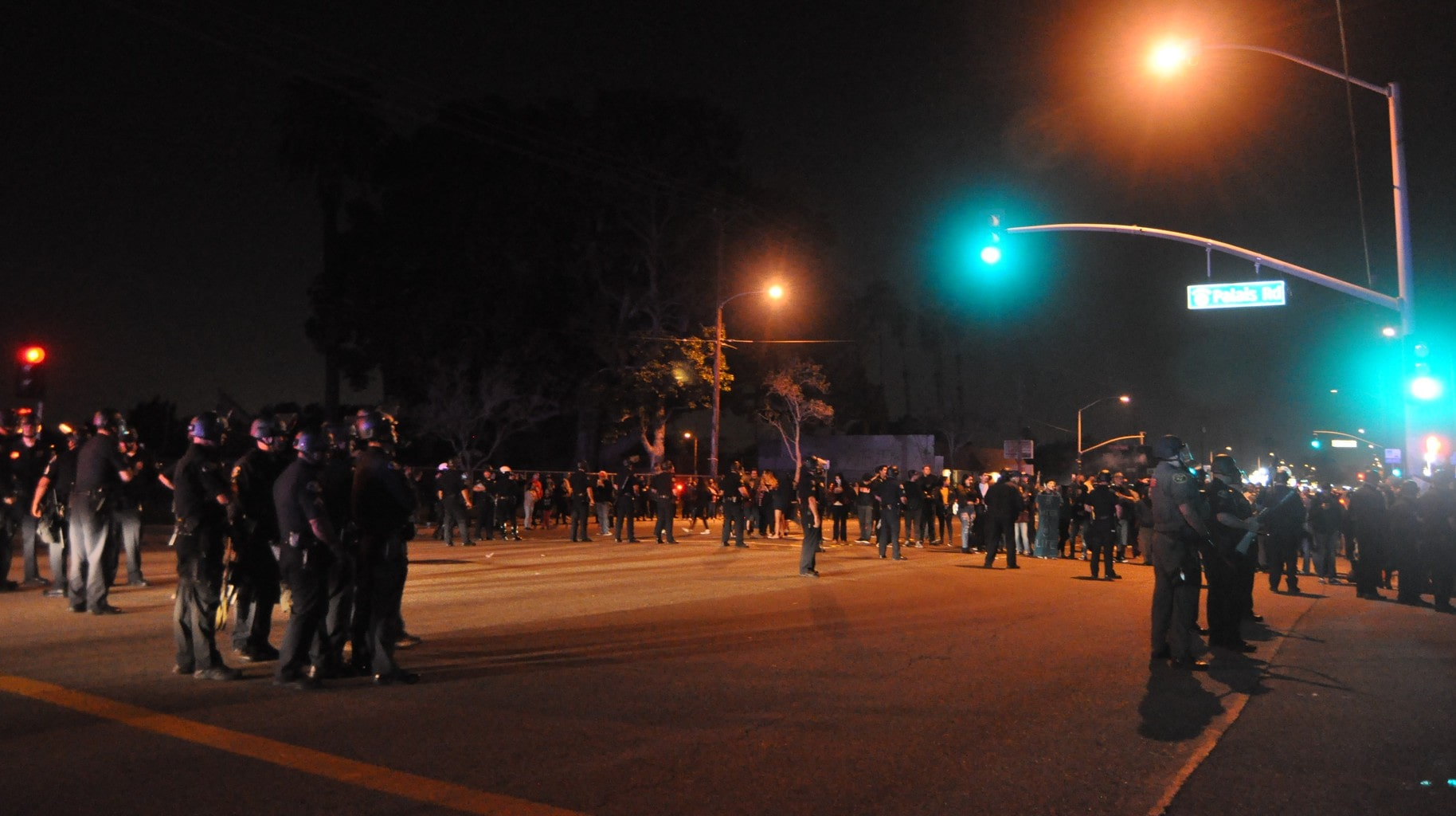 hundreds protest anaheim arrest of teens in confrontation with off