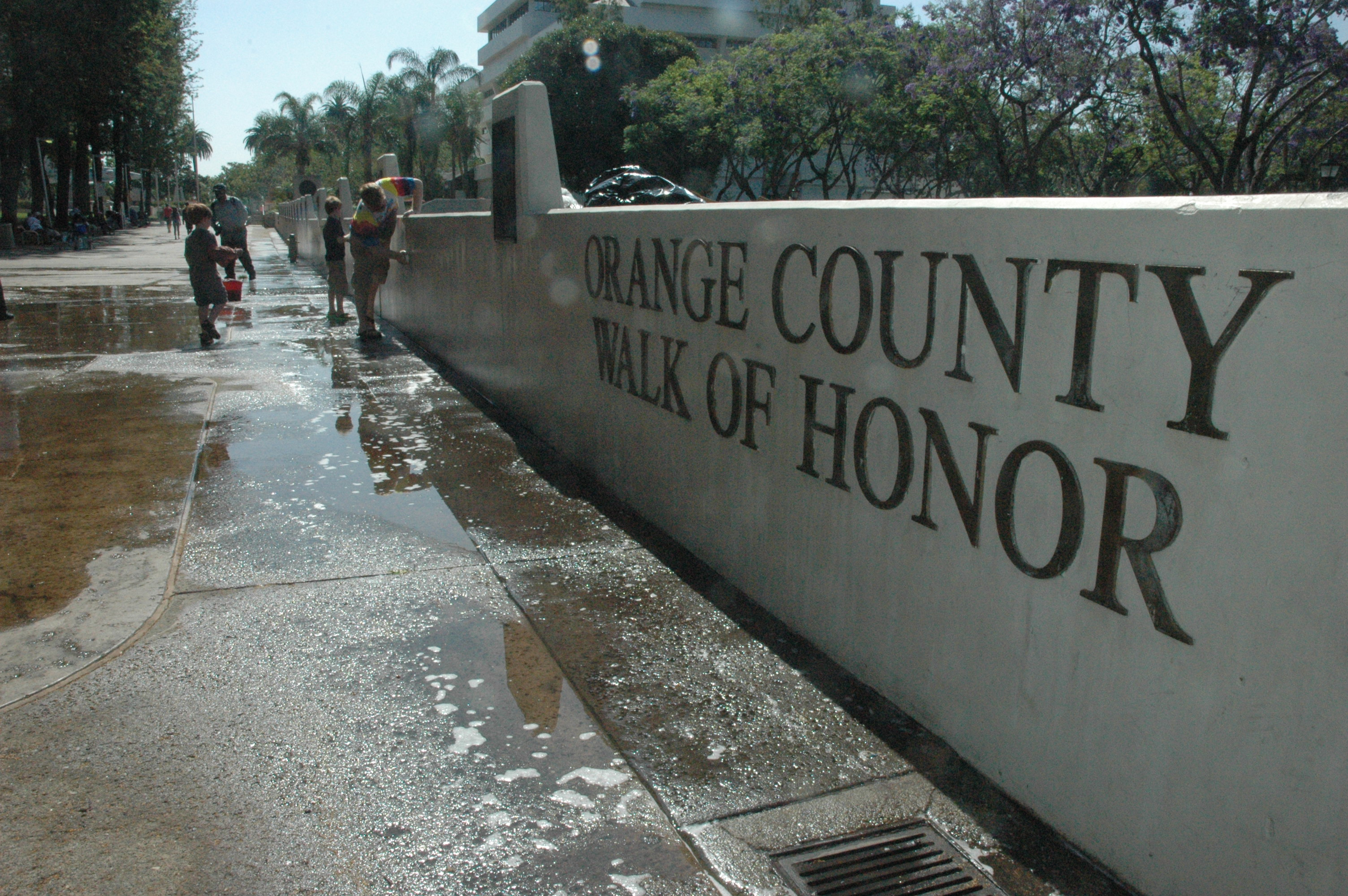 Cleaning OC Walk of Honor