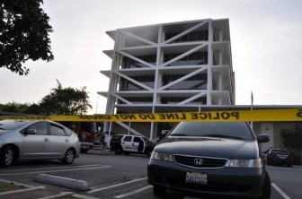 The cordoned-off area at Costa Mesa City Hall where city employee Huy Pham jumped to his death. (Photo by: Adam Elmahrek)