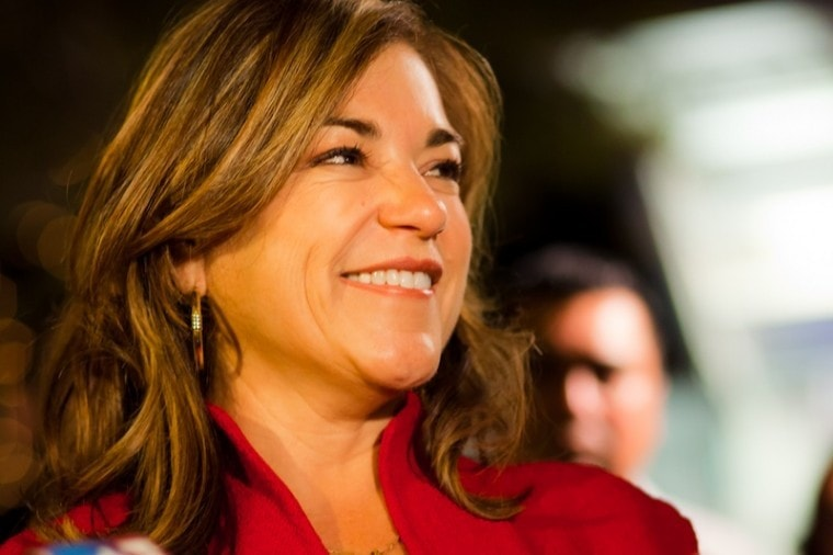 47th District Congresswoman Loretta Sanchez at the Election Night celebration in Santa Ana's Plaza of the Artists. (Photo by: Kenny Rivera)